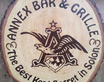 Custom Wood Burned Bar Sign with your logo
