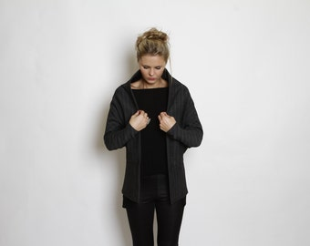 Grey Geometric Jacket, kite style cardigan, Formal top, stripes coat, open jacket, kimono top, oversize top, casual jacket, elegant coat