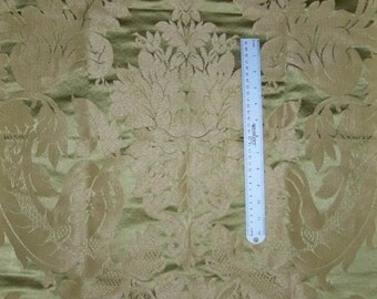 STROHEIM & ROMANN SOLARIS Medallion Silk Linen Damask Fabric 10 Yards Jade