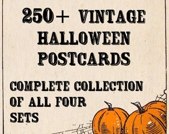 Vintage Halloween Postcards - Complete Collection - More than 250 Postcards - Digital Images - Instant Download