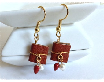 Leather Mini Book Earrings, June Birthstone Pearl Swarovski Crystal with Surgical Steel Earwires - GE47