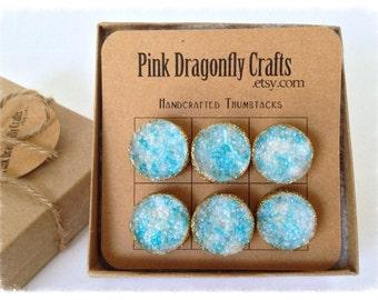 Blue Faux Druzy Thumbtacks/ Message Board Pins Gold Glitter Dipped Set of 6 - TT10