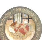 Antique Wall Plate Chicken Handpainted Rooster Rustic Farmhouse Decor Decoration, Easter Decor, Easter wall plate, Antique Wall Decoration
