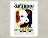 14th Illinois Cattle Feeders Meeting WPA poster- 8.5 x 11 Poster Print - also available in 13x19 - see listing details