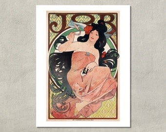 JOB Cigarette Papers Advertisement by Alphonse Mucha, 1898 - 8.5x11 Poster Print - also available in 13x19 - see listing details