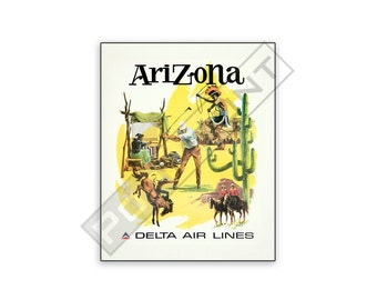 Vintage Travel Poster Delta Airlines Arizona on 8x10 PopMount Ready to Hang - FREE SHIPPING (Contl US)