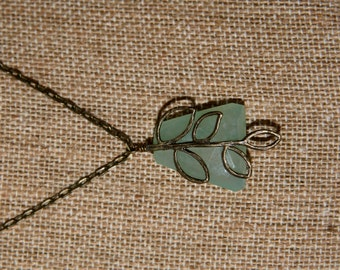 Sage Necklace: Green chalcedony nugget on antique brass chain  with antique brass branch