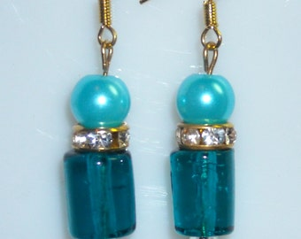 Aqua Glass Pearl, Aqua / Teal Glass Tube Cylinder, Gold Rhinestone Earrings