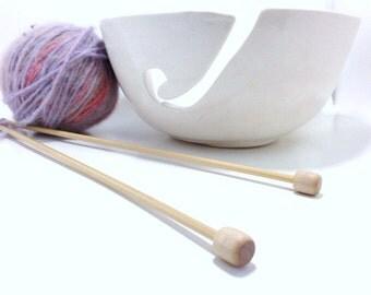 Yarn Bowl White Porcelain Pottery Yarn Keeper Yarn Feeder Knitting Bowl Stunning MADE TO ORDER