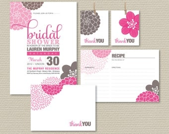 Printable Bridal Shower Invitation Party Pack - Pretty Modern Flower Design in Pink & Brown (PP22)
