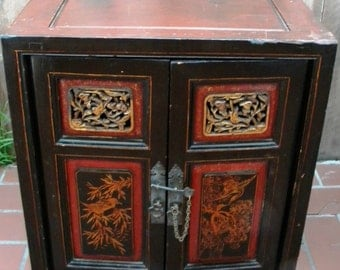 Antique Chinese Carved Wood Cabinet Chest