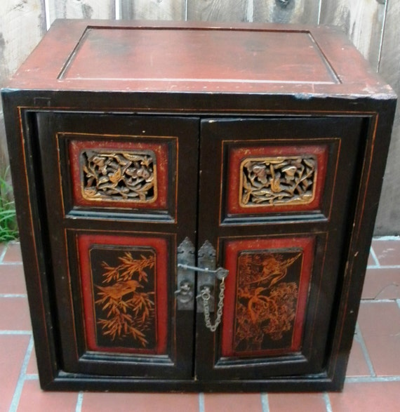 Antique chinese carved wood cabinet chest for Antique asian cabinet