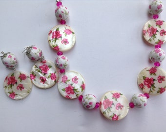 Flower Statement Necklace-Shell Necklace-Pink Flower-One of a Kind-Hand Made-Designs by Stalinda
