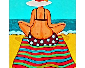 Whimsical Woman Beach Folk Art - Colorful Seashore 8x10 Glicee Print from Original Coastal Painting - Magic Carpet Ride - Korpita ebsq