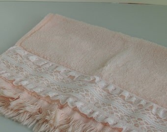 Vintage Pink Hand Towel with Lace Accent