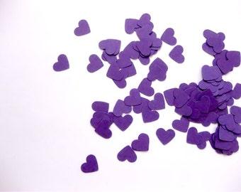 Mini Heart Confetti Valentines Day Confetti Die Cuts - Valentines Day Purple Hearts Punch Outs - Set of 100
