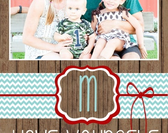 Custom Wood and Chevron Christmas Cards