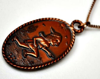 Copper pendant necklace - tribal Southwest Indian - Native American running -Bell Trading Co