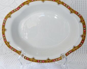 Vintage Antique A. Lanternier & Co. Limoges 9 3/4 Inch Oval Vegetable Bowl, Lnt 39 Roses, L 15A Circa 1890, Collectible A. Lanternier Limoge