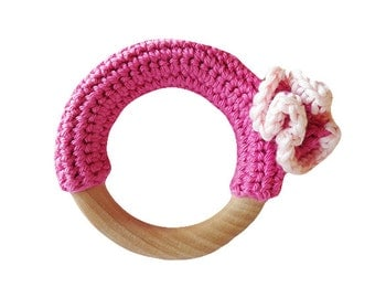 CARNATION DESIGN Crochet covered natural wooden baby teething ring / teether