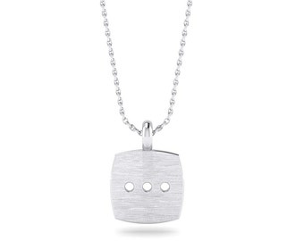 Flat Cushion Shape Pendant, Sterling Silver Pendant Necklace, Flat Cushion Disc with triple dots, Handmade by Gwen Park Jewellery Designs