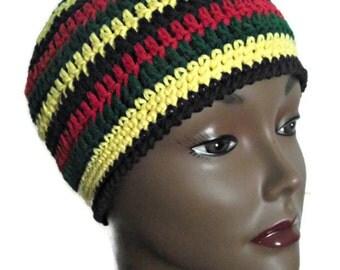 Unisex Reggae Stripes Crochet Beanie