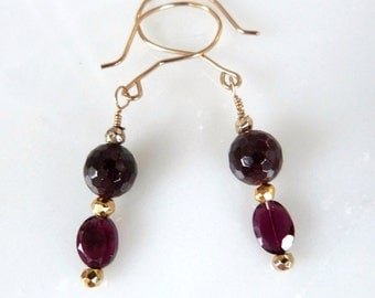 Garnet and Gold Dangle Earrings, Handmade, Genuine Gemstone