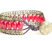 Leather Wrap Bracelet, OOAK, Single Wrap Bracelet, Cuff Bracelet, Vintage Button, Red Jade & African Jade Beads, Boho, Chic, Cherry Tree