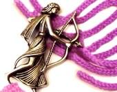 Archery brooch Greek goddess Artemis pin jewelry vintage pewter jacket pin