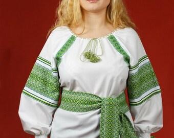 Ukrainian embroidered women's blouse. Vyshyvanka. Blouse with belt. Ukrainian national clothes. Vyshivanka. Ladies blouse. White