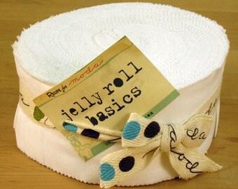 Moda Bella Solids - WHITE - JELLY ROLL