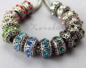 4PCs Birthstone Spacers European Beads Set - Crystal Rhinestone Large Hole Beads For All European Charm Bracelets - 15 Colors Available