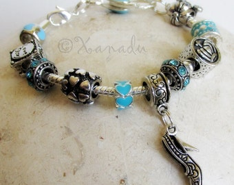 Cinderella Love Story Turquoise Blue European Charm Bracelet - Small Girl, Child, Kid, Children Sizes Available