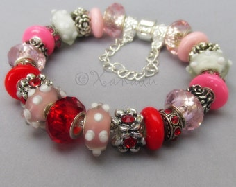 Red And Pink Rose Bouquet European Charm Bracelet with Lampwork Glass Beads And Crystal Charms - Gift For Wife, Girlfriend, Spouse