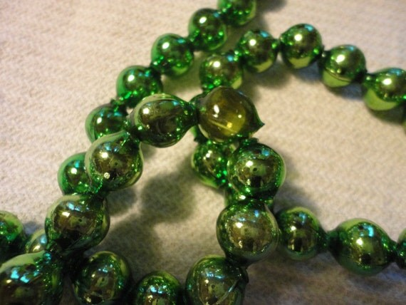 Vintage large green mercury glass christmas beads garland for
