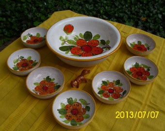 Vintage Retro Italy/Italian Ceramic/Pottery/Stoneware-Saladier Set/Salad/Serve-Bowl/Bowls-Bright Orange/Red Flowers/Floral