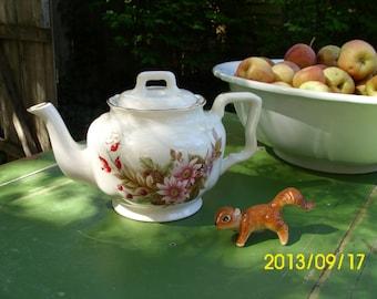 Antique Arthur Wood-England-Flowers and Pinecones Tea Pot-White/Multi Colored Floral