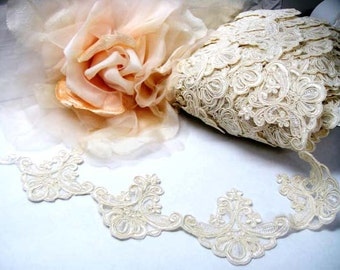 Ivory Alecon Lace Trim, Lace Trimming, Veil Trim, Wedding Lace, Lace Fabric, Wedding Dress Lace Trim, Lace Trimming, Embroidered Trim