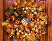 Copper, Chocolate, and Gold, Fall Deco Mesh Wreath