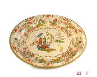 Daher Tin, Made in England, oval shaped tray/bowl, decorated in a Japanese motif