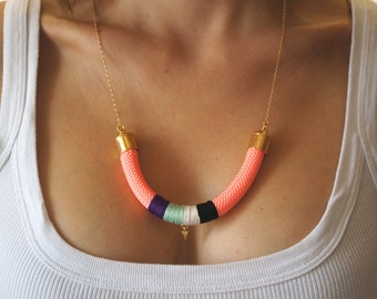 Neon Coral Rope Necklace - Statement Tribal Bib Necklace - Mint Purple Black White Thread Cord & Gold Arrow Triangle - Salmon Pink Necklace