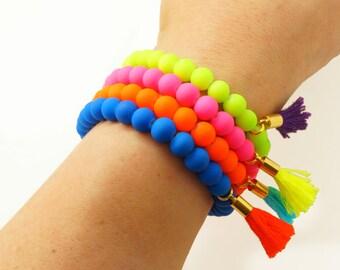 Neon Beaded Tassel Bracelet - Stretch Bracelet - Neon Pink Yellow Orange Blue - Color Block Bracelet