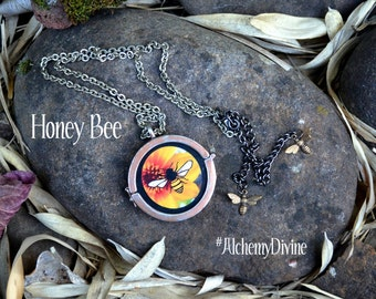 Honey Bee Necklace, Steampunk Pocket Watch Necklace, adjustable length. By Alchemy Divine Couture