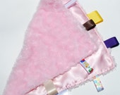 Baby Cuddle Blanket - Minky and Satin with Ribbon Tags - Pink OR CUSTOM