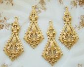 Ornate Brass Victorian Art Deco Styled Chandelier Earring Findings Connectors Dangles (4)