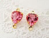 Vintage Rose Pink Swarovski Crystal Gold Plate Connector Beads - 4