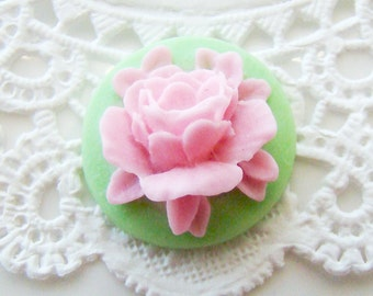 Chic 18mm Bright Pink Peony Rose & Lime Green Flower Cameo Cabochon - 6