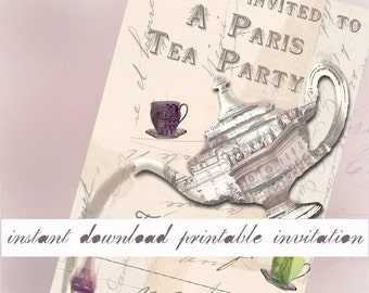 Paris Tea Party - Instant Download Printable Invitation - French Tea Party