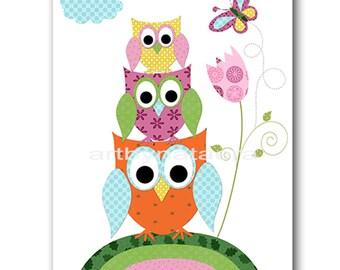 Baby Shower Gift Owl Decor Owl Nursery Baby Girl Nursery Decor Baby Nursery Print Girl Children Art Print Owl Orange Green Blue Rose
