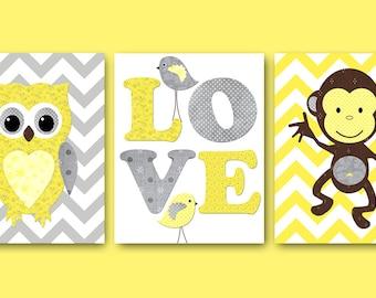 Kids Wall Art Owl Nursery Print Monkey Nursery Baby Nursery Decor Baby Boy Baby Girl Nursery Kids Art Baby Room Decor set of 3 Yellow Grey /